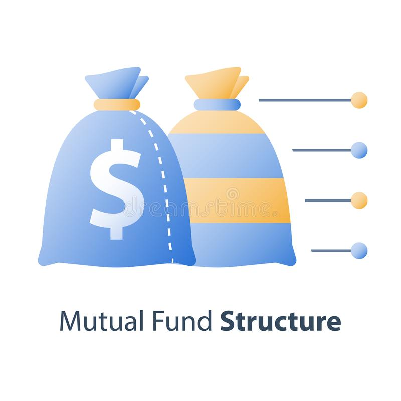 Diversificazione di bene, struttura del fondo di investimento, concetto del fondo di investimento mutualistico, soluzione finanzi illustrazione vettoriale