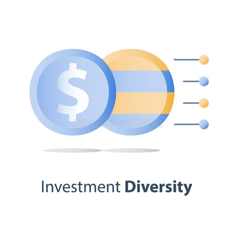 Diversificazione di bene, struttura del fondo di investimento, concetto del fondo di investimento mutualistico, soluzione finanzi royalty illustrazione gratis