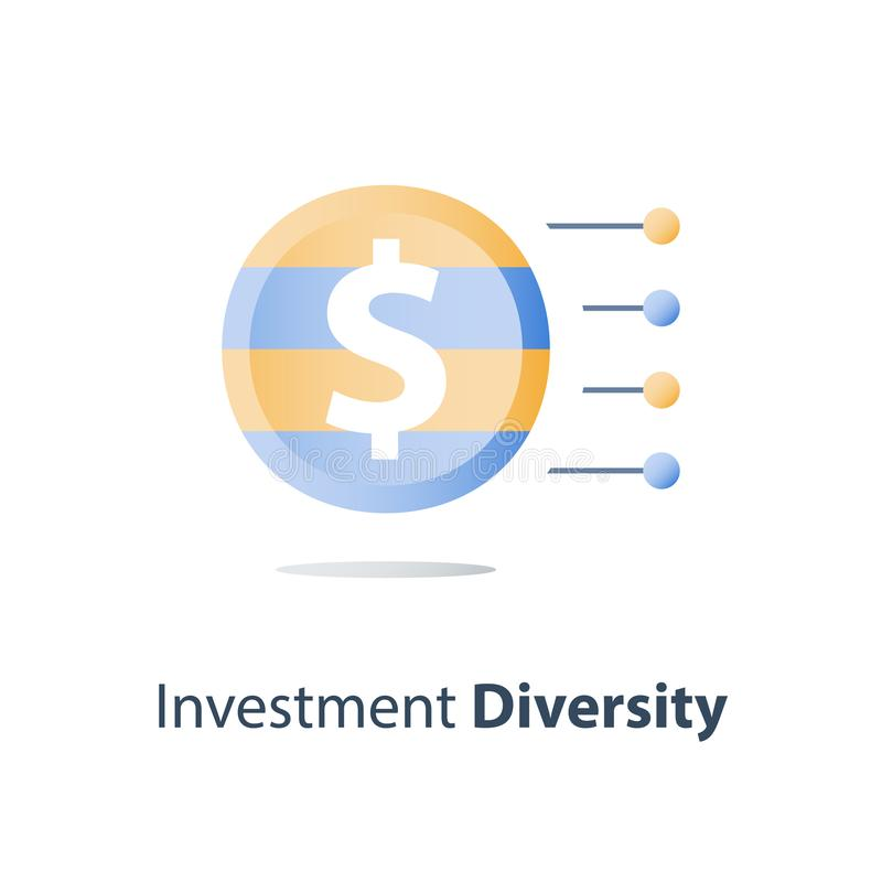 Diversificazione di bene, struttura del fondo di investimento, concetto del fondo di investimento mutualistico, soluzione finanzi illustrazione di stock