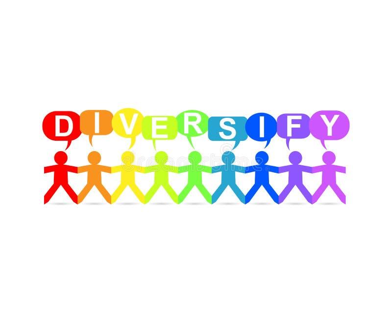 Diversifiera den pappers- folkanföranderegnbågen royaltyfri illustrationer