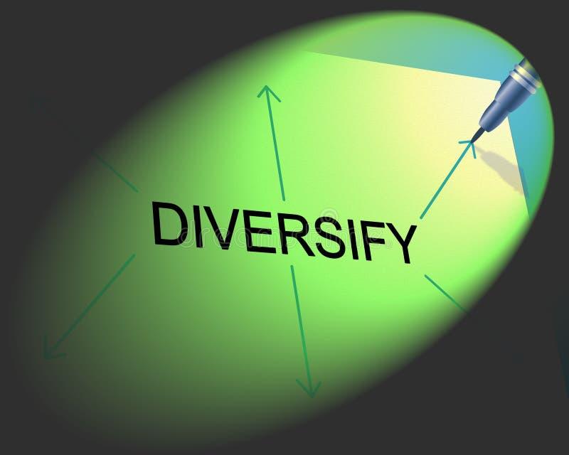 Diversifiera mångfald indikerar kompottet och skillnad royaltyfri illustrationer