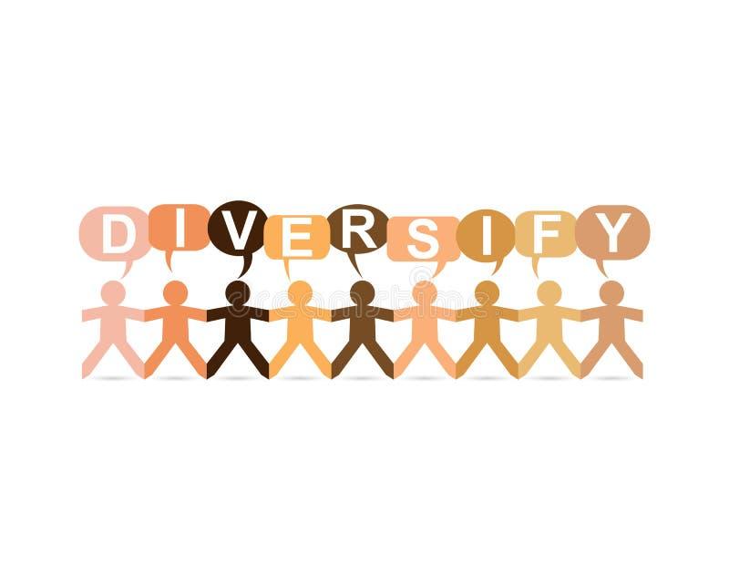Diversifique el discurso de papel de la gente ilustración del vector