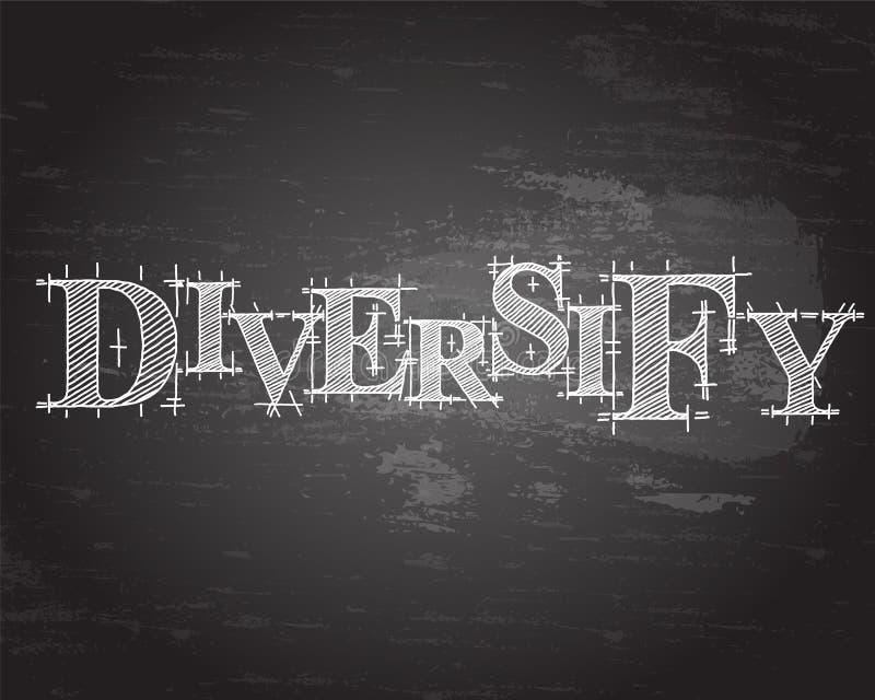 Diversifique la pizarra de la palabra ilustración del vector
