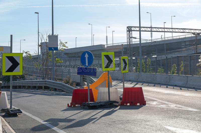 Diversion. Road Works Diversion Direection Arrows and Barrier royalty free stock photo