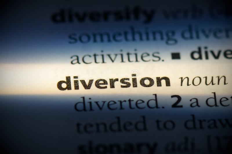 Diversion. Word in a dictionary.  concept stock photos
