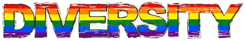 DIVERSITÀ con il simbolo della bandiera dell'arcobaleno di orgoglio di LBGT nell'ambito di, sguardo afflitto di parola di lercium illustrazione vettoriale