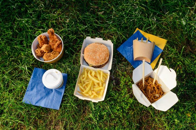Diversità di alimenti a rapida preparazione fotografie stock