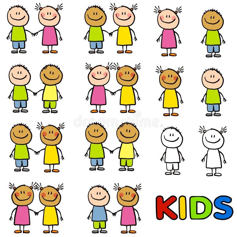 Diversità di amicizia dei bambini illustrazione vettoriale