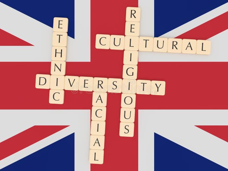 Diversità nel Regno Unito: Mattonelle della lettera, illustrazione 3d con la bandiera della Gran Bretagna royalty illustrazione gratis