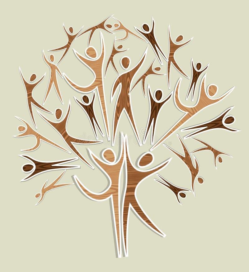 Diversit y wooden human tree set stock illustration