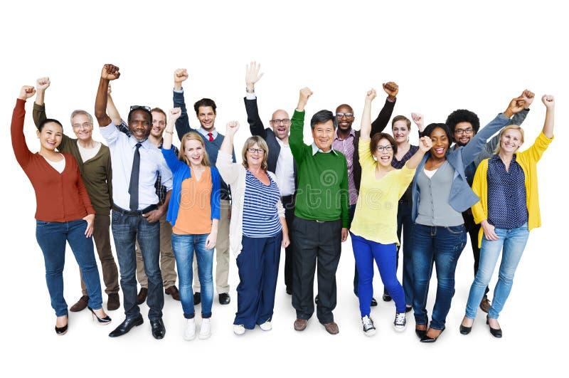 Diversiteit Toevallig Team Cheerful Success Community Concept royalty-vrije stock afbeelding