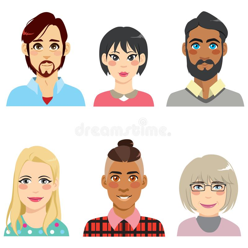 Diversiteitsavatar Mensen vector illustratie