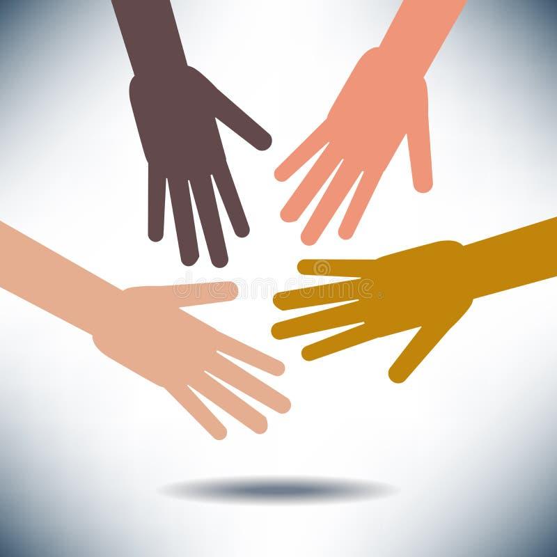 Diversiteitsbeeld met Handen stock illustratie