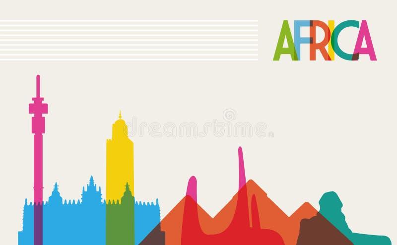 Diversiteitsmonumenten van Afrika, beroemd oriëntatiepuntcol. stock illustratie