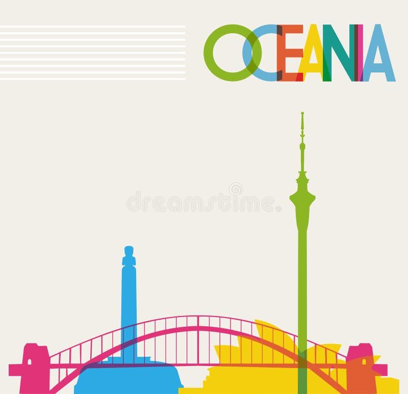 Diversiteitsmonumenten van Oceanië, beroemde oriëntatiepunten c stock illustratie