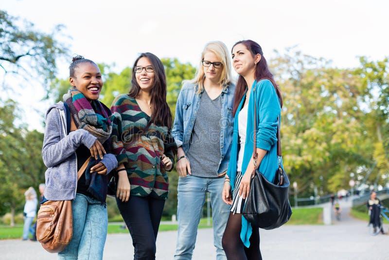 Diversiteitsvrienden als groep in park stock afbeeldingen