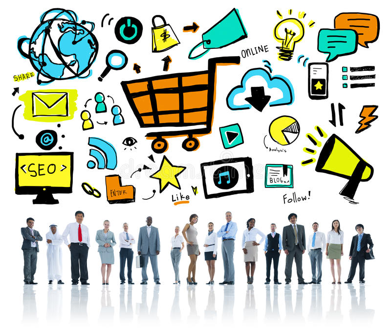 Diversity Business People Online Marketing Professional Team. Concept stock photography
