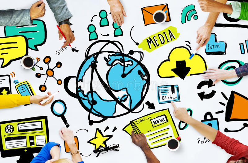 Diversity Casual People Media Technology Brainstorming Concept.  stock photo