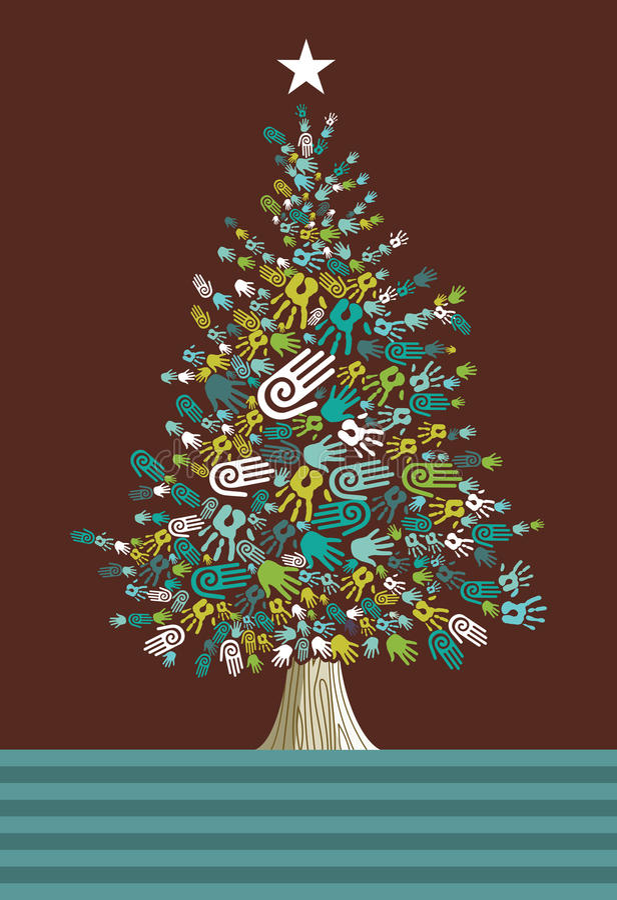 Diversity Christmas Tree hands card vector illustration