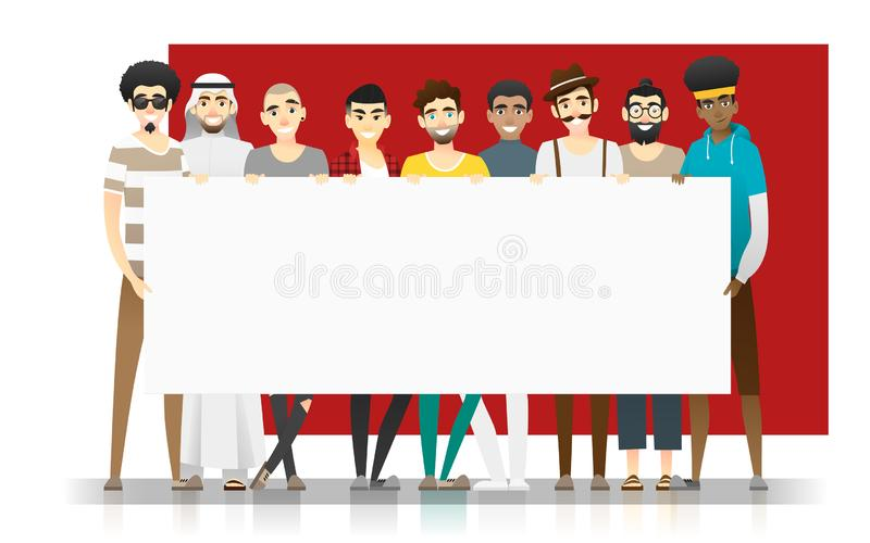 Diversity concept background , group of happy multi ethnic men standing together and holding empty board. Vector , illustration royalty free illustration
