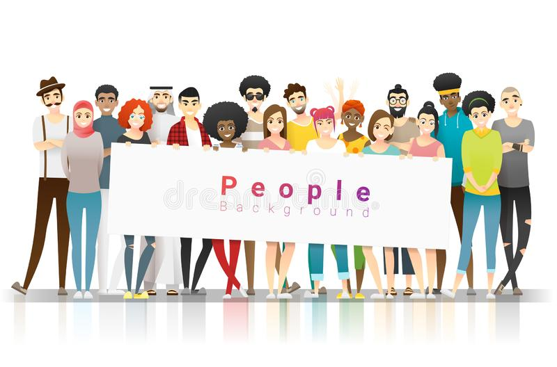 Diversity concept background , group of happy multi ethnic people standing together and holding empty banner. Vector , illustration stock illustration