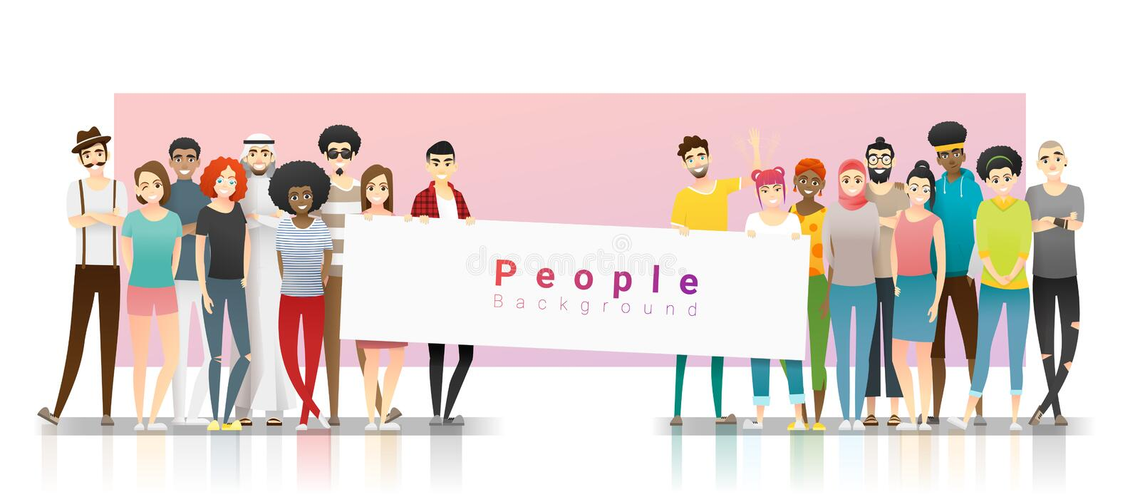 Diversity concept background , group of happy multi ethnic people standing together and holding empty banner. Vector , illustration royalty free illustration