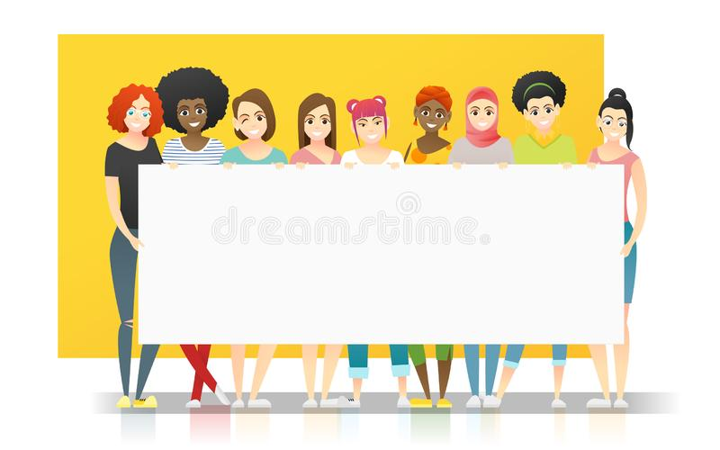 Diversity concept background , group of happy multi ethnic women standing together and holding empty board. Vector , illustration vector illustration