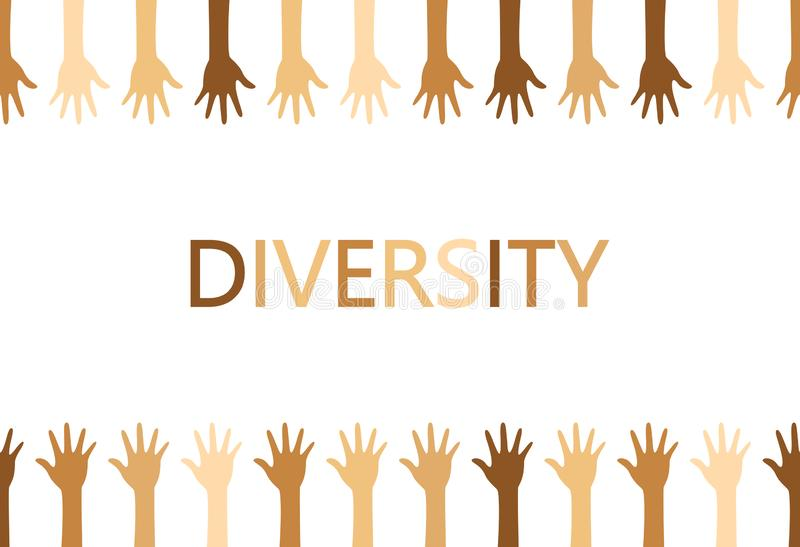 Diversity concept design, hands up and down with text royalty free illustration