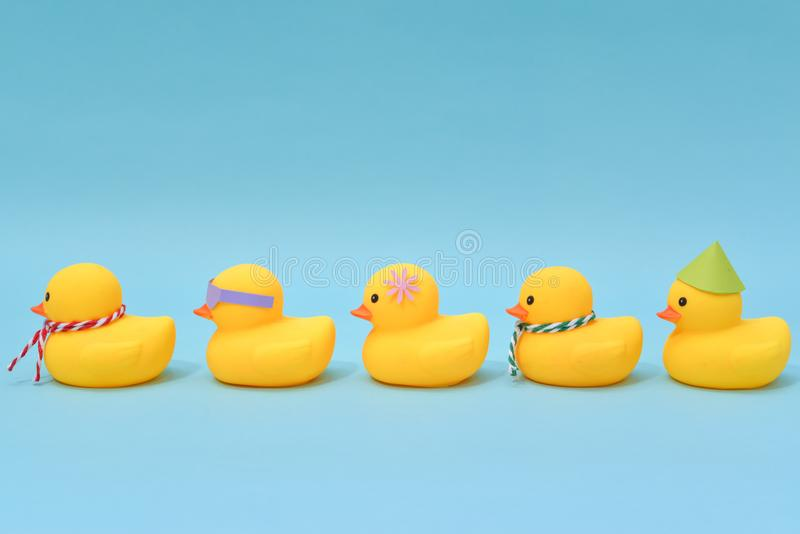 Diversity concept, Difference rubber ducks manage to line up. Diversity concept, Five difference rubber ducks manage to line up stock photo