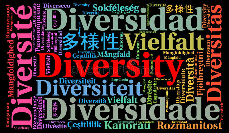 Diversity in different languages word cloud royalty free illustration
