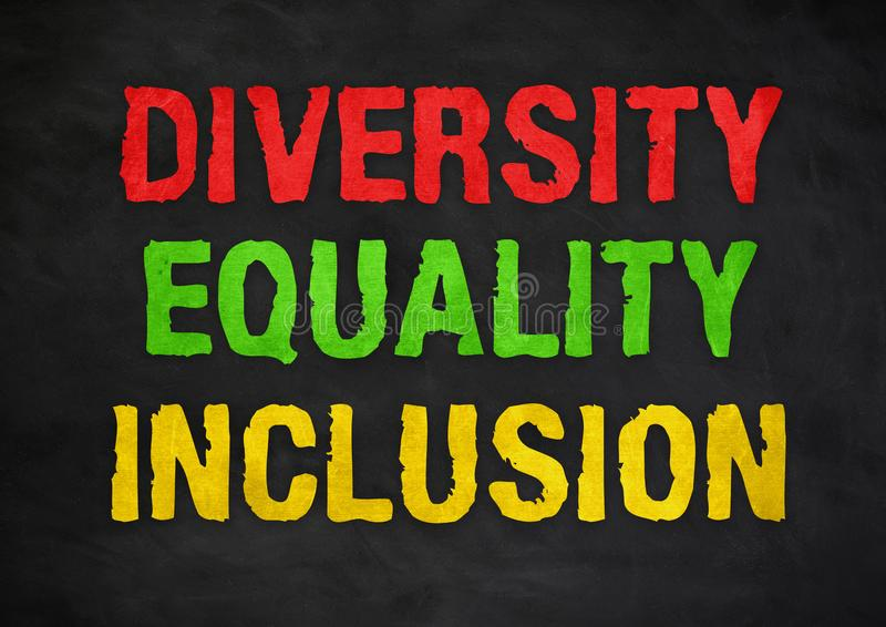 Diversity Equality Inclusion. Chalkboard concept royalty free stock image
