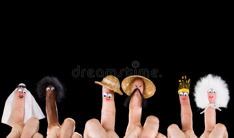 Diversity finger puppets royalty free stock photo