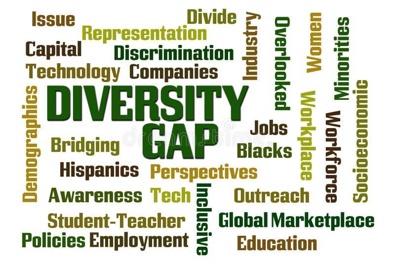 Diversity Gap. Word cloud on white background vector illustration