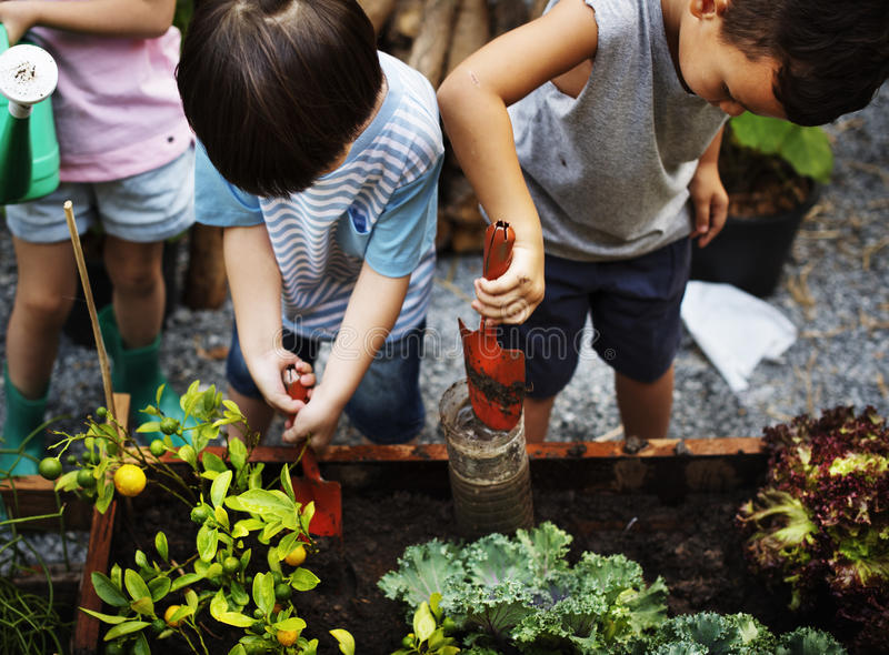 Diversity Group Of Kids Garden Shovel Watering Can royalty free stock image