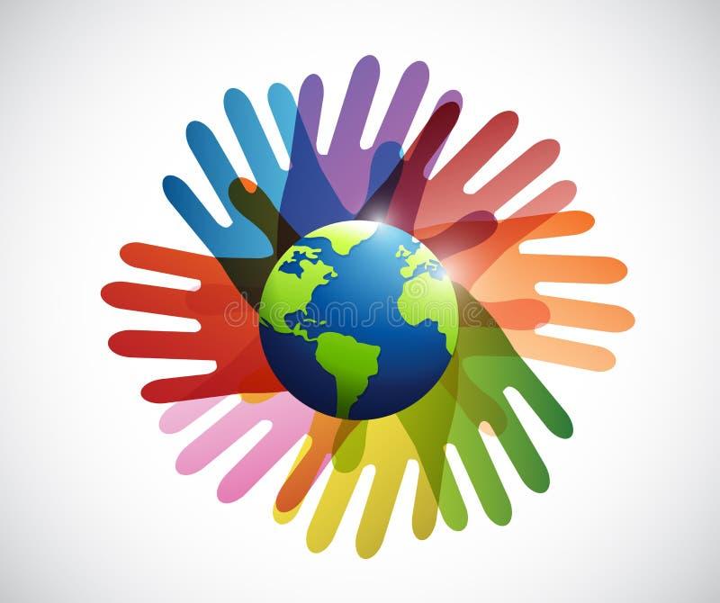 diversity hands around the globe vector illustration