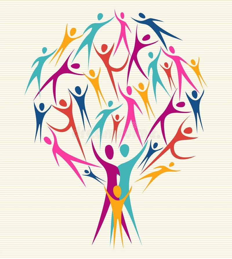 Diversity human colors tree set stock illustration