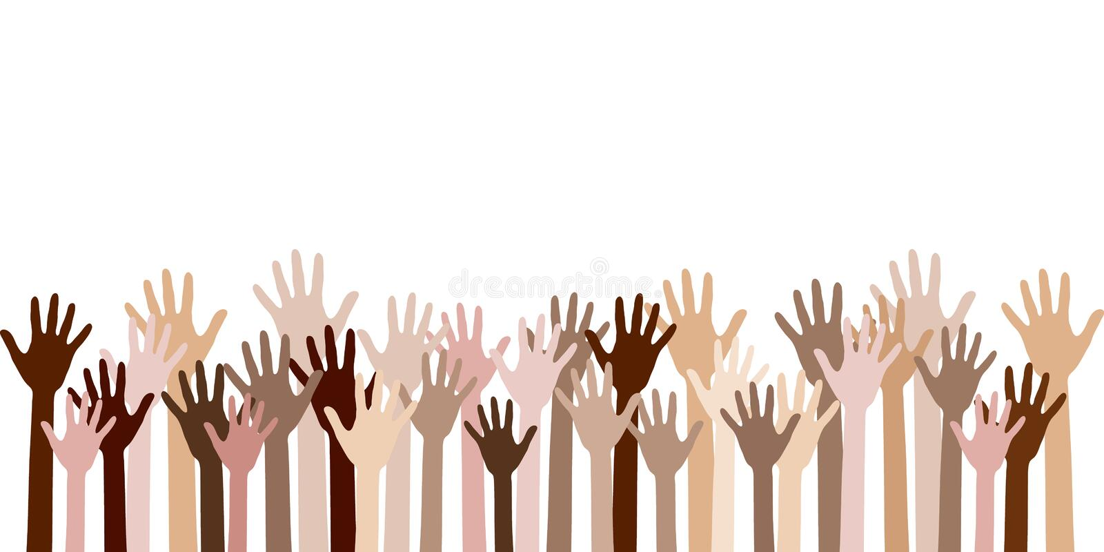 Diversity of human hands raised. vector illustration
