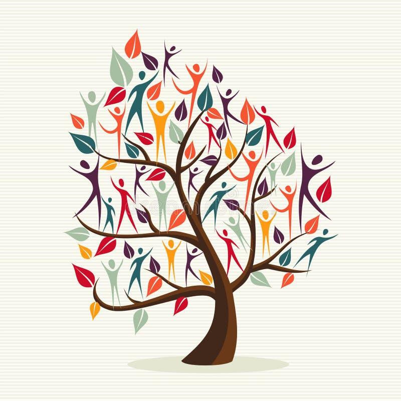 Diversity human leaves tree set stock illustration
