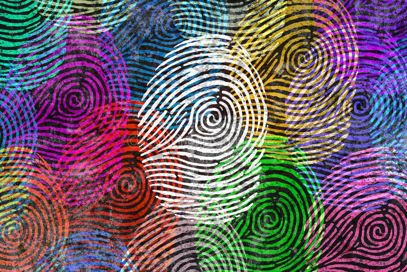 Diversity Identity Symbol. Diversity identity and privacy concept and personal private data symbol as diverse finger prints or fingerprint icons and census stock illustration