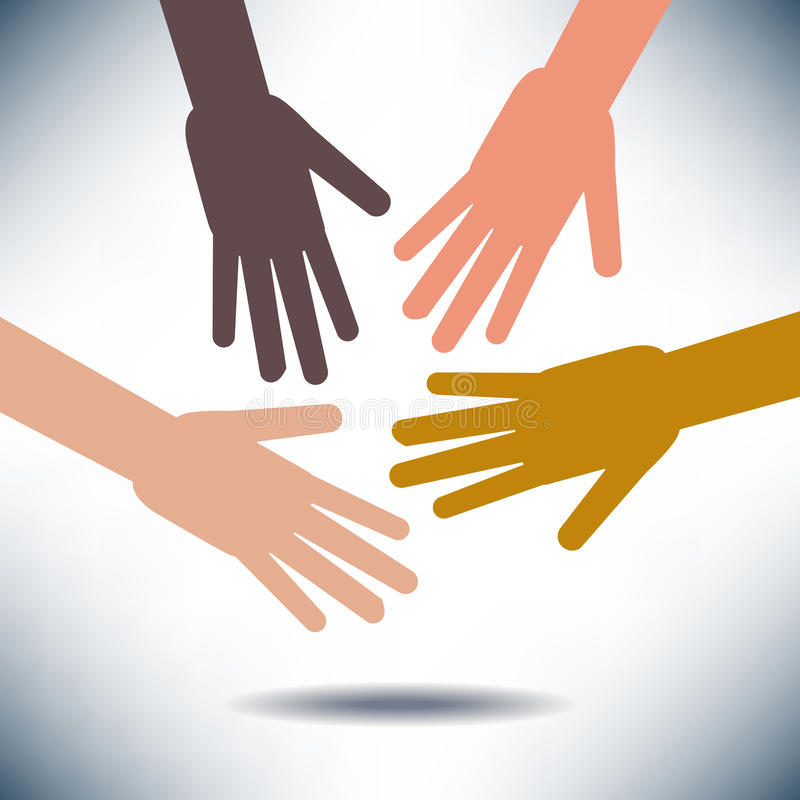 Diversity Image with Hands stock illustration