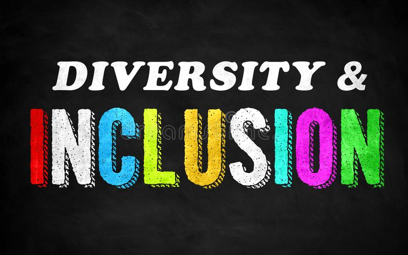 Diversity and Inclusion. Chalkboard concept royalty free illustration