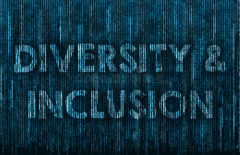 Diversity and Inclusion. Matrix background illustration royalty free illustration