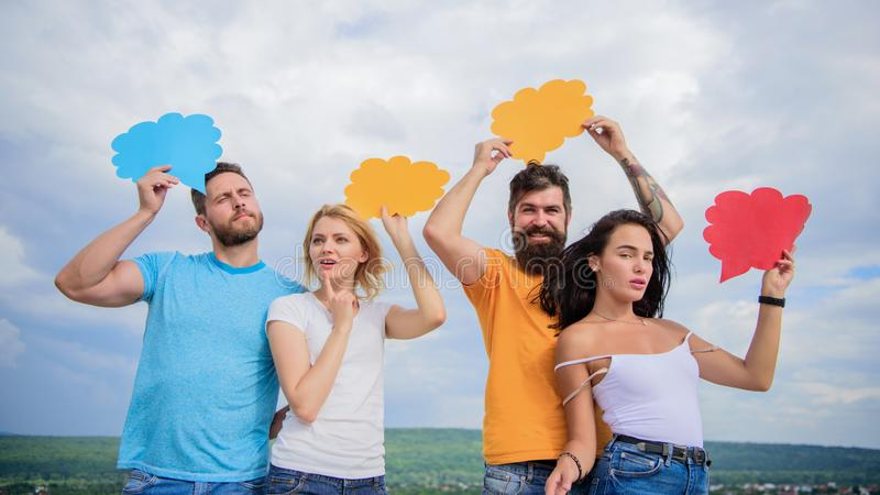 Diversity interests and thoughts. Difference between men and women. Thoughts of different sex. Bearded man and girl with royalty free stock photography