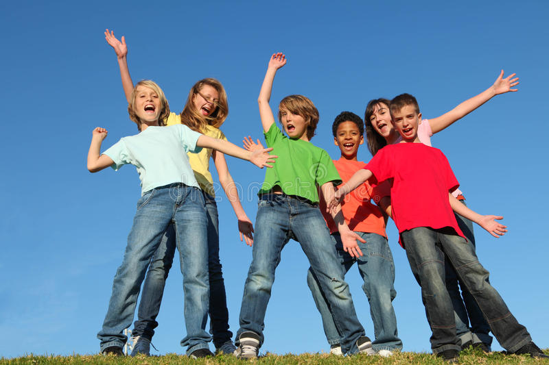 Diversity kids group hands raised stock images