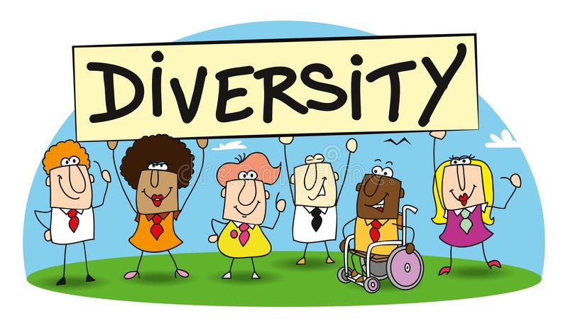 Diversity in my team. Different ethnic people are in the office. diversity is essential for the development of your company royalty free illustration