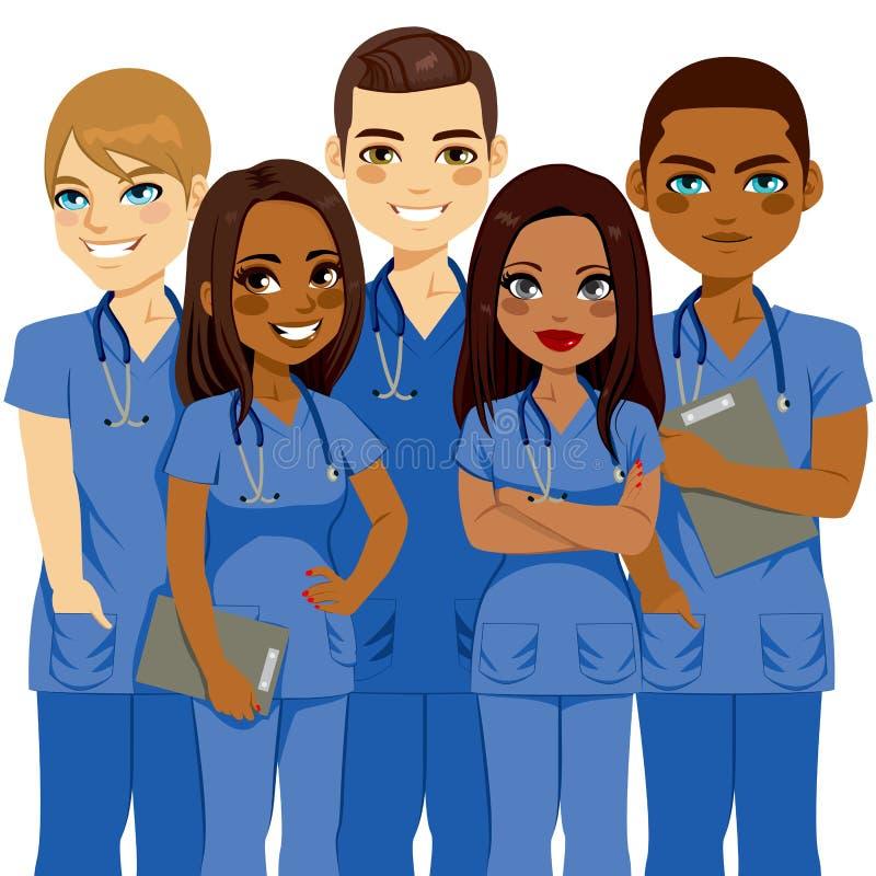 Diversity Nurse Team. Young diversity male and female nurse team stock illustration