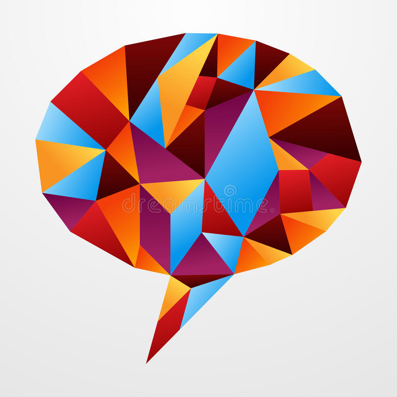 Diversity origami speech bubble isolated. Multicolored origami paper in social speech bubble shape isolated over white. Vector illustration layered for easy vector illustration