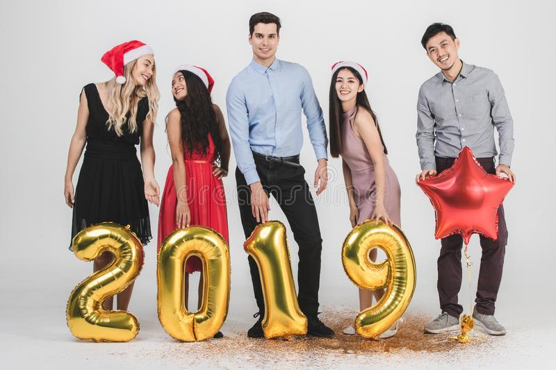 Diversity people celabrate new year 2019 stock image