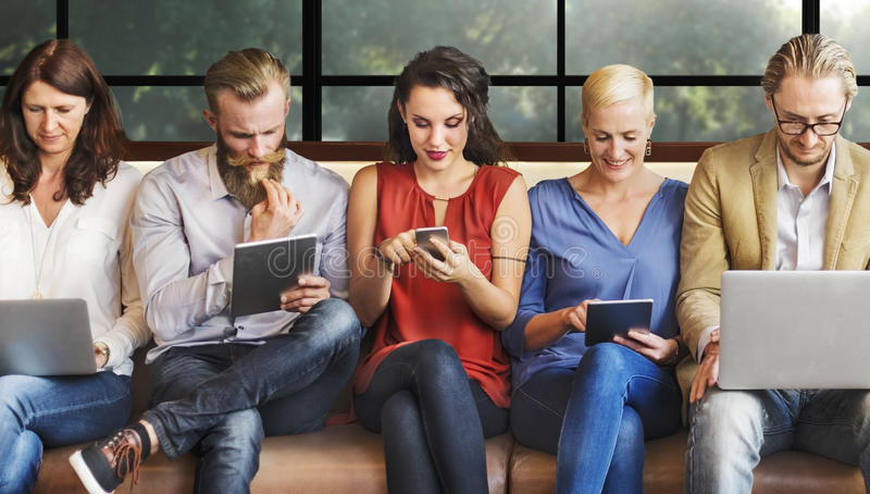 Diversity People Connection Digital Devices Browsing Concept.  royalty free stock photo