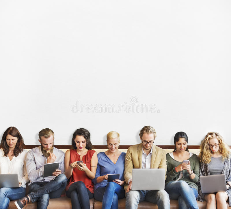 Diversity People Connection Digital Devices Browsing Concept stock photography